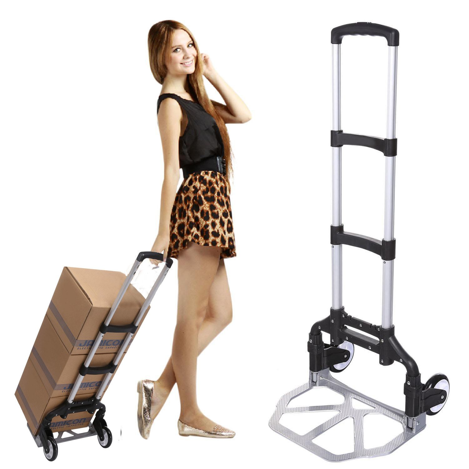 (US Stock) Keland Foldable Lightweight Hand Truck, Portable Aluminum Small Hand Trucks,150lbs Capacity Mini Hand Truck with Arm Handle for Industrial/Travel/Shopping