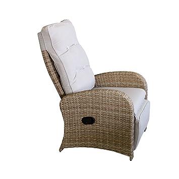 Wohaga® Polyrattan Sessel Gartensessel Natur Mit Fußteil Und Auflage  Rattansessel Relaxsessel Loungesessel Fernsehsessel Lehne Stufenlos