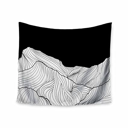 68 x 80 Wall Tapestry Kess InHouse Viviana Gonzalez Lines in The Mountains Black White Mixed Media