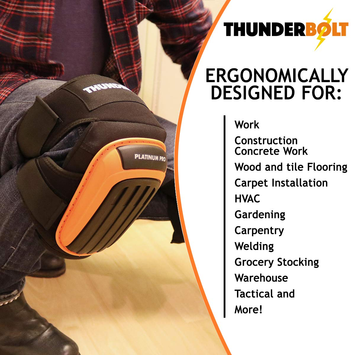 Knee Pads for Work by Thunderbolt with Heavy Duty Foam Cushioning and Gel Cushion Perfect for Construction, Flooring and Gardening with Adjustable Anti-Slip Straps by Thunderbolt (Image #6)