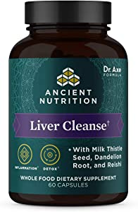Ancient Herbals Liver Cleanse†, Whole Food Dietary Supplement, Formulated by Dr Josh Axe with Milk Thistle, Dandelion Root & Reishi for Optimal Liver Support, 1300mg, 60 Capsules