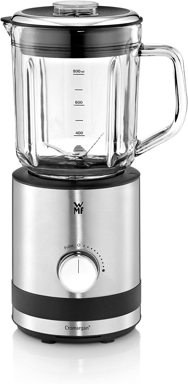 WMF Kitchenminis - Batidora de vaso 400 W,0.8 litros, 6 cuchillas, recipiente de vidrio, acabado de acero inoxidable cromargan mate, 5 velocidades, negro/transparente