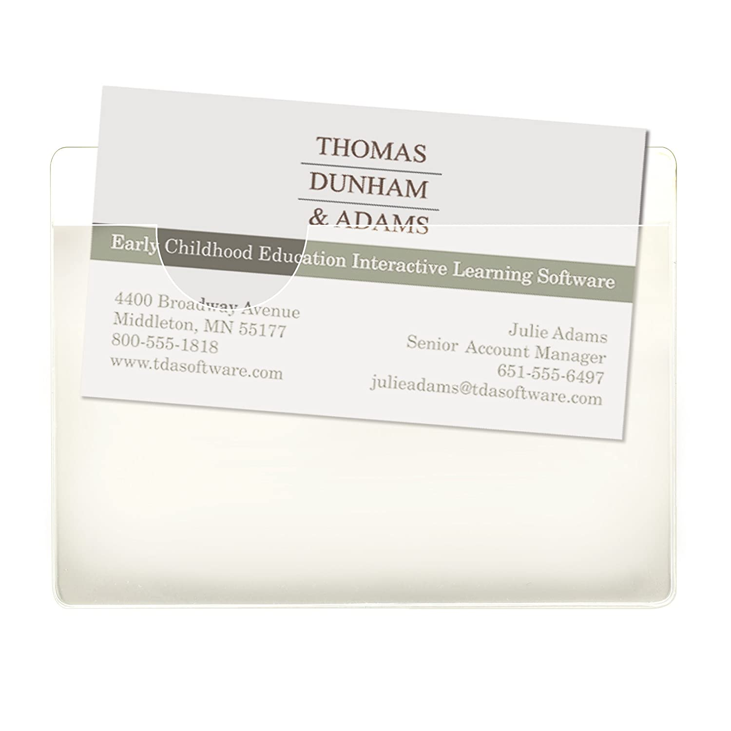 smead self adhesive poly pockets business card size