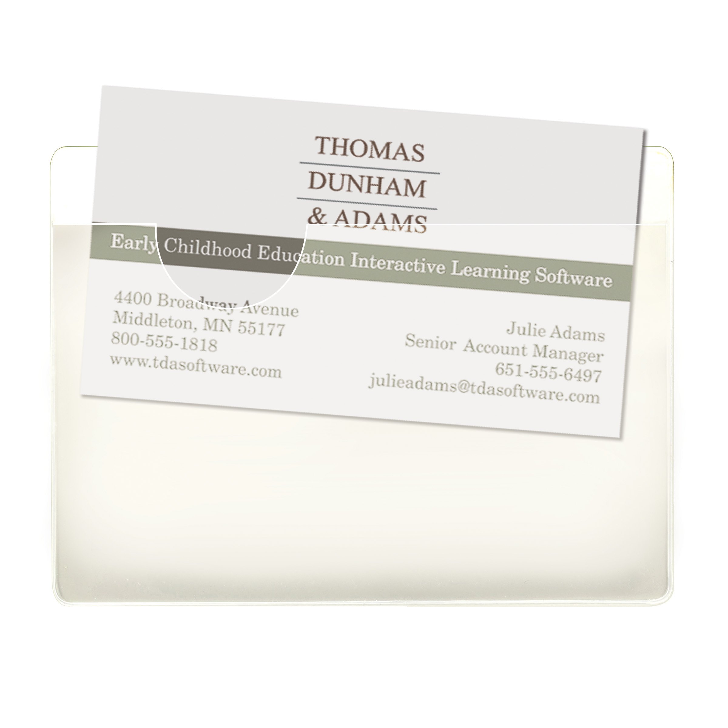 Smead Self-Adhesive Poly Pockets, Business Card Size (4-1/16''W x 3''H), Clear, 100 per Box (68123)