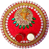 9 inch Karwa Chauth/Karva Chauth & Diwali Decorative Puja Thali with Lord Ganesha and Roli Rice for Hindu Temple Rituals..Indian Gift Items