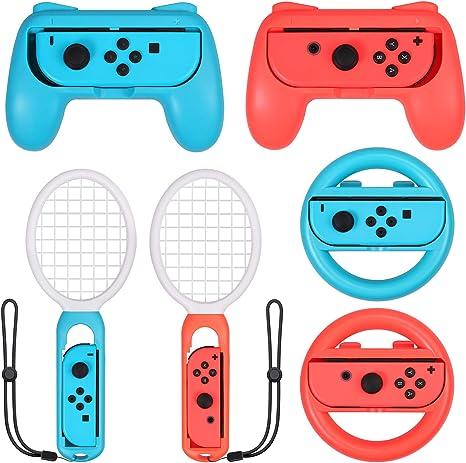 eSynic 3 en 1 Raqueta de Tenis, Volante, Empuñadura, para Switch Accesorios Joy-Con para Mario Tennis Aces Juego Juego de Manijas para Controlador de Juegos para Switch Joy-Con: Amazon.es: Videojuegos