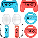 LiNKFOR 3 in 1 Joy-Con Accessories Bundle   Tennis Racket for Mario Tennis Aces Game  Grips Handle for Joy-Con   Steering Whe