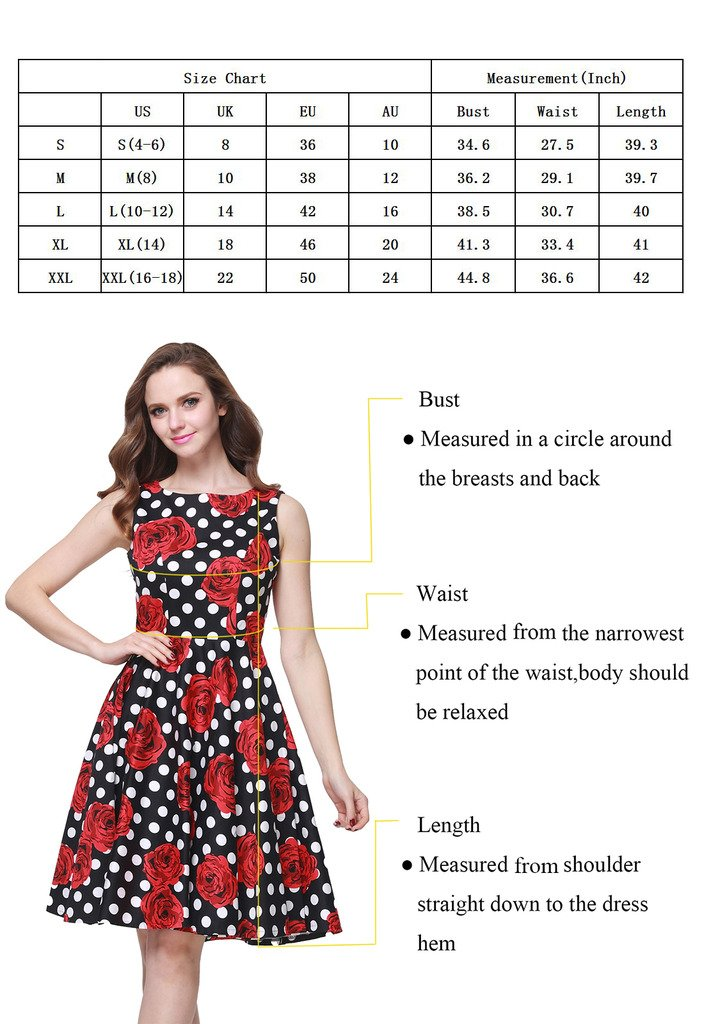 Buenos Ninos Women's Classic 1950s Printed Vintage Retro Rockabilly Party Ball Swing Dress Black with Red Rose L by Buenos Ninos (Image #6)