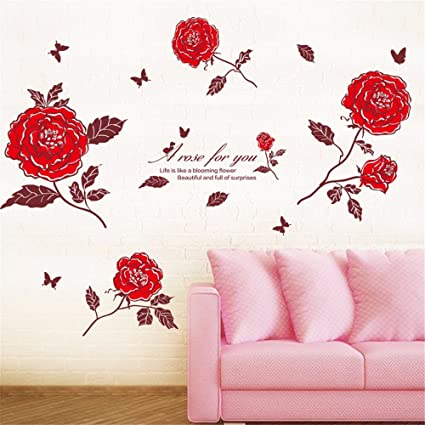 Ghaif The Red Rose Wall Decal Posters Marriage Room Bedroom Wall Decoration  Living Room Sofa Romantic