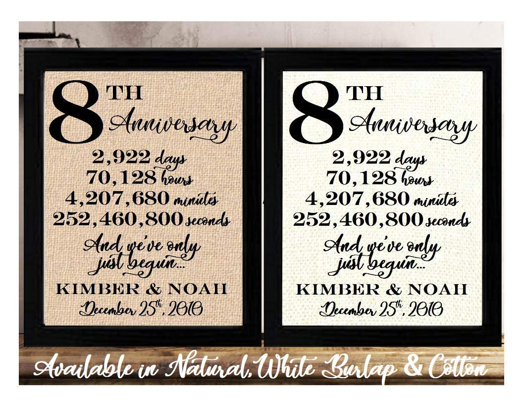 Amazon Com Framed 8x10 Personalized 8th Anniversary 8 Years Together 8 Years Of Marriage 8th Wedding Anniversary For Her Or Him 8th Anniversary Gifts For Couple 8 Year Anniversary Eighth Anniversary Gifts Handmade