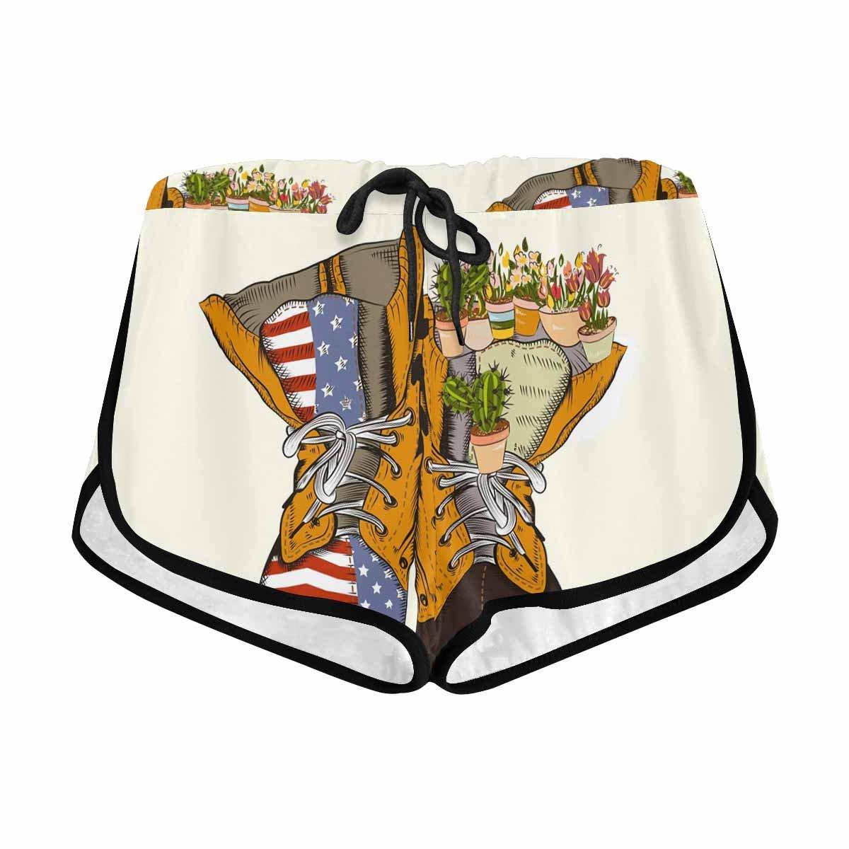 InterestPrint Women Military Boots Elastic Waist Casual Beach Shorts with Drawstring XL