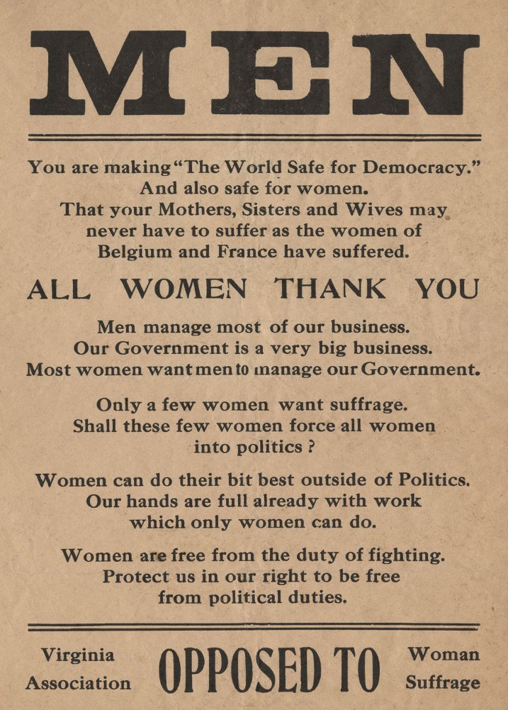 Vintage Suffragette MEN. ALL WOMEN THANK YOU. YOU ARE MAKING THE WORLD SAFE  FOR DEMOCRACY 250gsm…