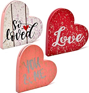 Gift Boutique Valentine's Day Decorations Set of 3 Table Toppers Love, You & Me and So Loved Heart Shape Design Wooden Shelf Display Centerpiece Signs Home Decor
