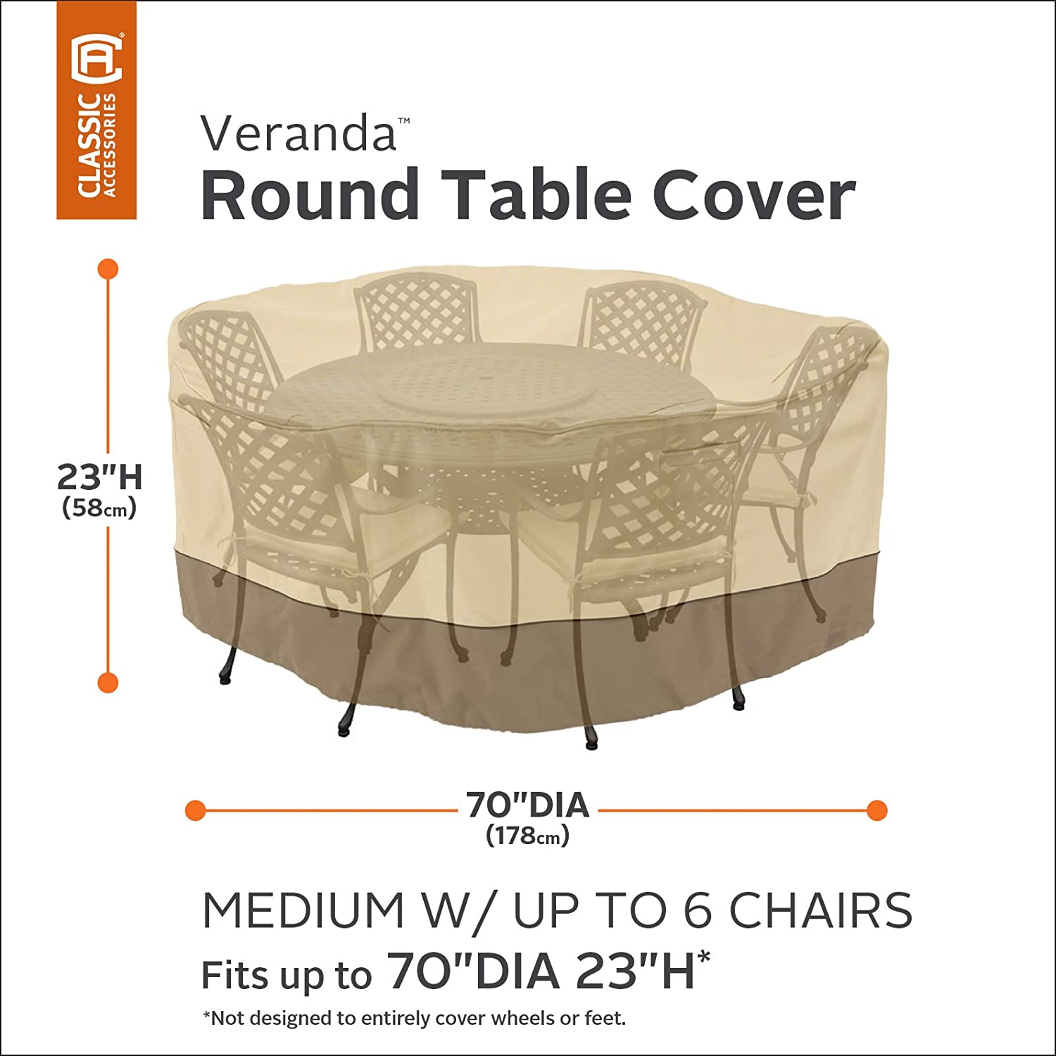 Amazon.com : Classic Accessories Veranda Patio Table U0026 Chair Set Cover    Durable And Water Resistant Outdoor Furniture Cover, Medium (78922) : Patio  ... Part 36