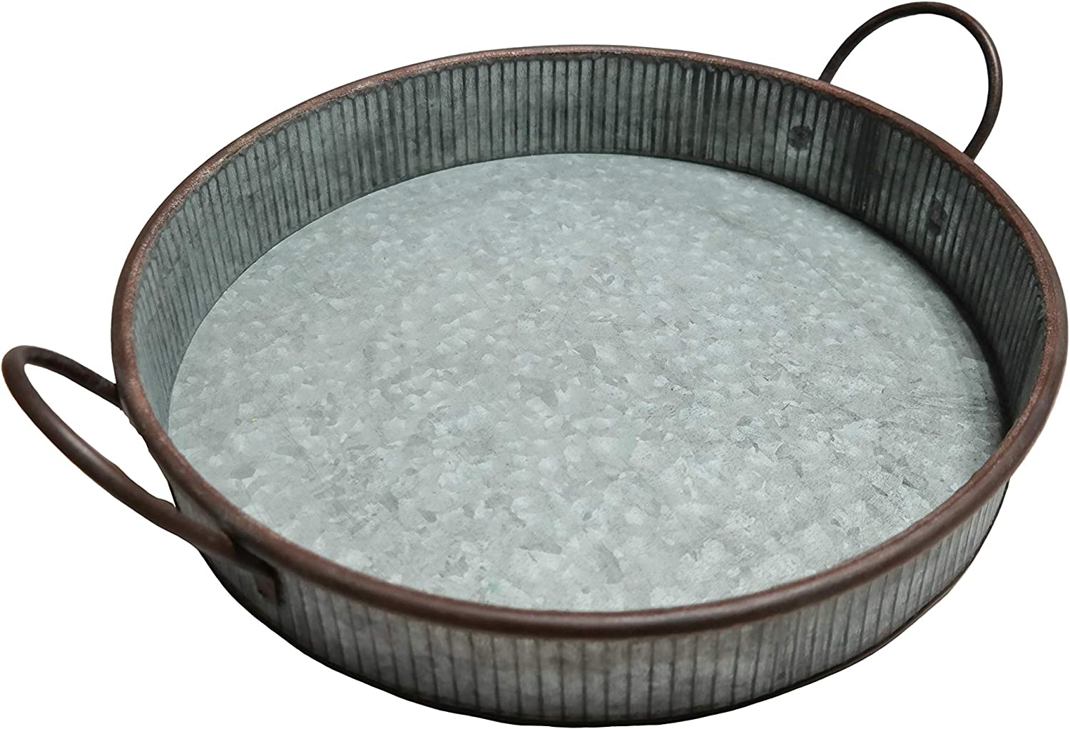 "MANDII Galvanized Round Serving Tray with Handles | 13"" Farmhouse Trays 
