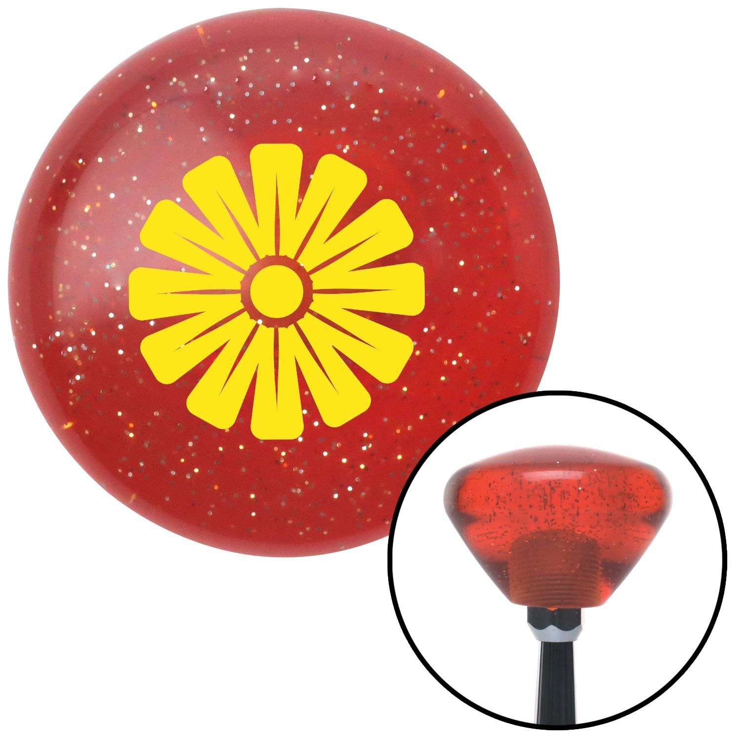 American Shifter 181099 Orange Retro Metal Flake Shift Knob with M16 x 1.5 Insert Yellow Hawaiian Flower #1