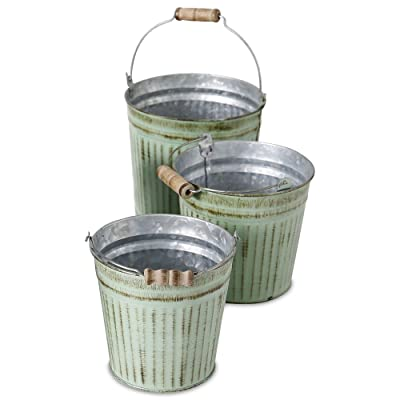 French Country Pail Planters, Set of 3, Bucket Cache Pot Jardinieres,Distressed Pale Green Finish with Terracotta Undertones, Galvanized Zinc, Corrugated, Wood Details, 6.25 Inches: Home & Kitchen
