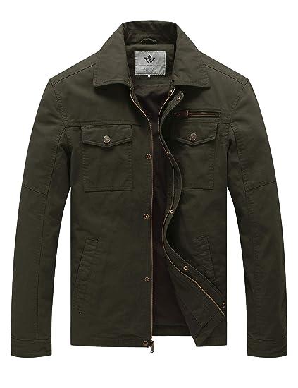 25d0a8ca5 WenVen Men's Spring Canvas Cotton Military Lapel Jacket