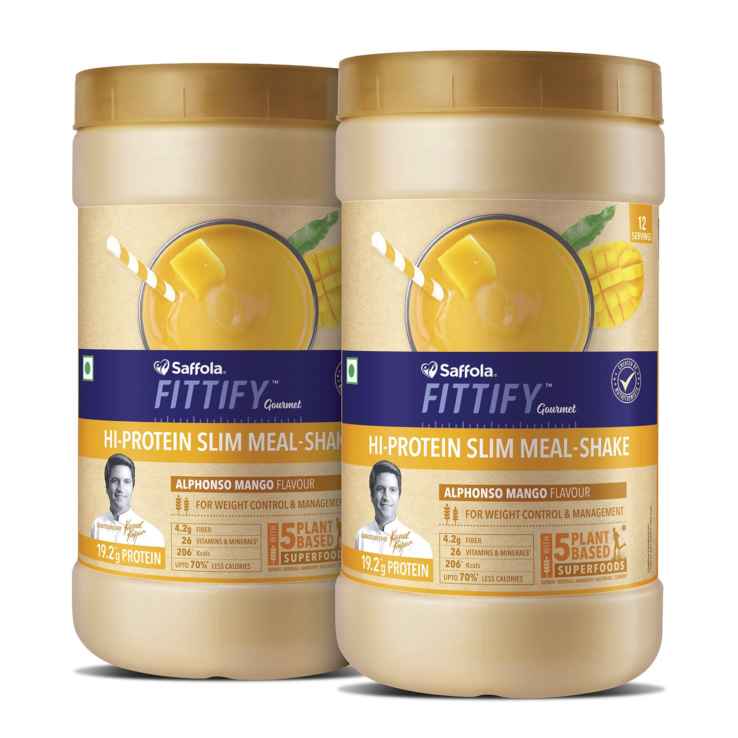 Saffola FITTIFY Hi Protein Slim Meal-Shake, Meal Replacement with 5 superfoods, Alphonso Mango, 420 gm (12 servings)-Buy One Get One Free product image