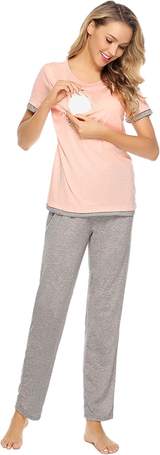 Aibrou Maternity Nursing Pajama Set Cotton for Breastfeeding and Hospital Pregnancy Sleepwear Pink