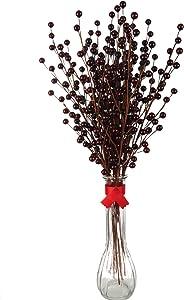 24 Artificial Berry Stem Picks - Decorative Wire Stem Branch Sprays for Christmas Tree Decoration, Holiday Décor, Silk Flower Arrangements, Home DIY Crafts, 35 Berries on each Stem, Burgundy Berries