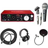 Focusrite Scarlett 2i2 USB Interface + Mic, Headphones, Cable and Pop Filter