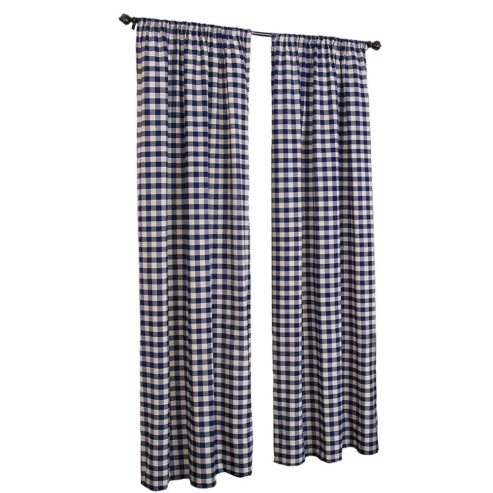 LGHome Buffalo Plaid Curtains Gingham Room Window Curtain Pack of 2 Panels, Navy Blue and White, 53x84inch