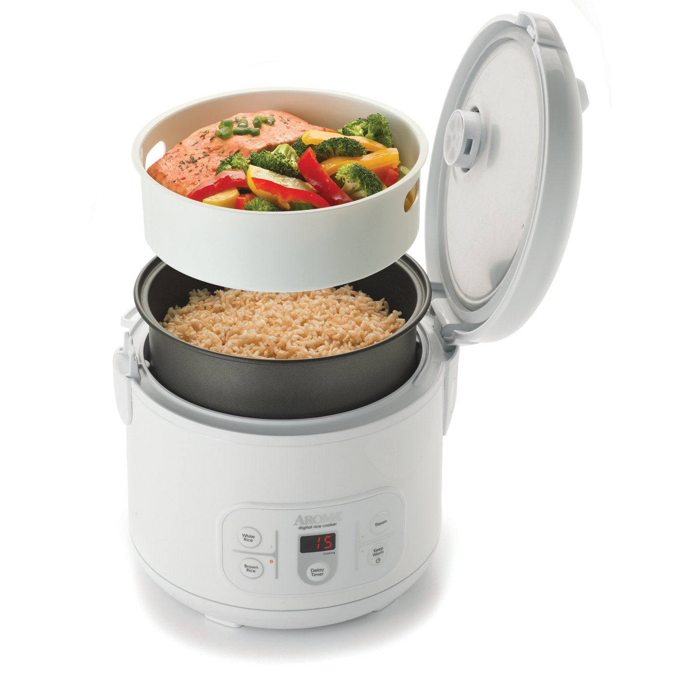 Amazon.com: Aroma Housewares ARC-996 6-Cup (Uncooked) 12-Cup (Cooked)  Digital Rice Cooker and Food Steamer, White: Kitchen & Dining