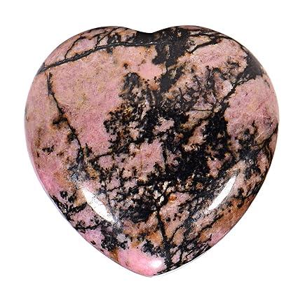 Morella piedras preciosas gema Rodonite forma de corazón Ángel de la Guarda protector de 3 cm en una bolsa de terciopelo