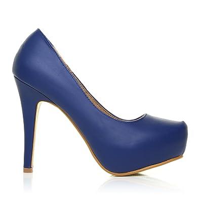 clair et distinctif nouveau sommet chaussures pour pas cher ShuWish UK - Chaussures Bleu Marine Stiletto en Cuir PU Haut ...