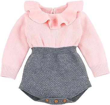 MAYOGO Ropa de Bebé Crochet Mameluco Manga Larga Bodis Ropa bebé Body con Volantes Bebé Niña Recién Nacido Mono de Punto Ropas de Invierno para Bebes Niñas 0 a 3 Meses, 0-2