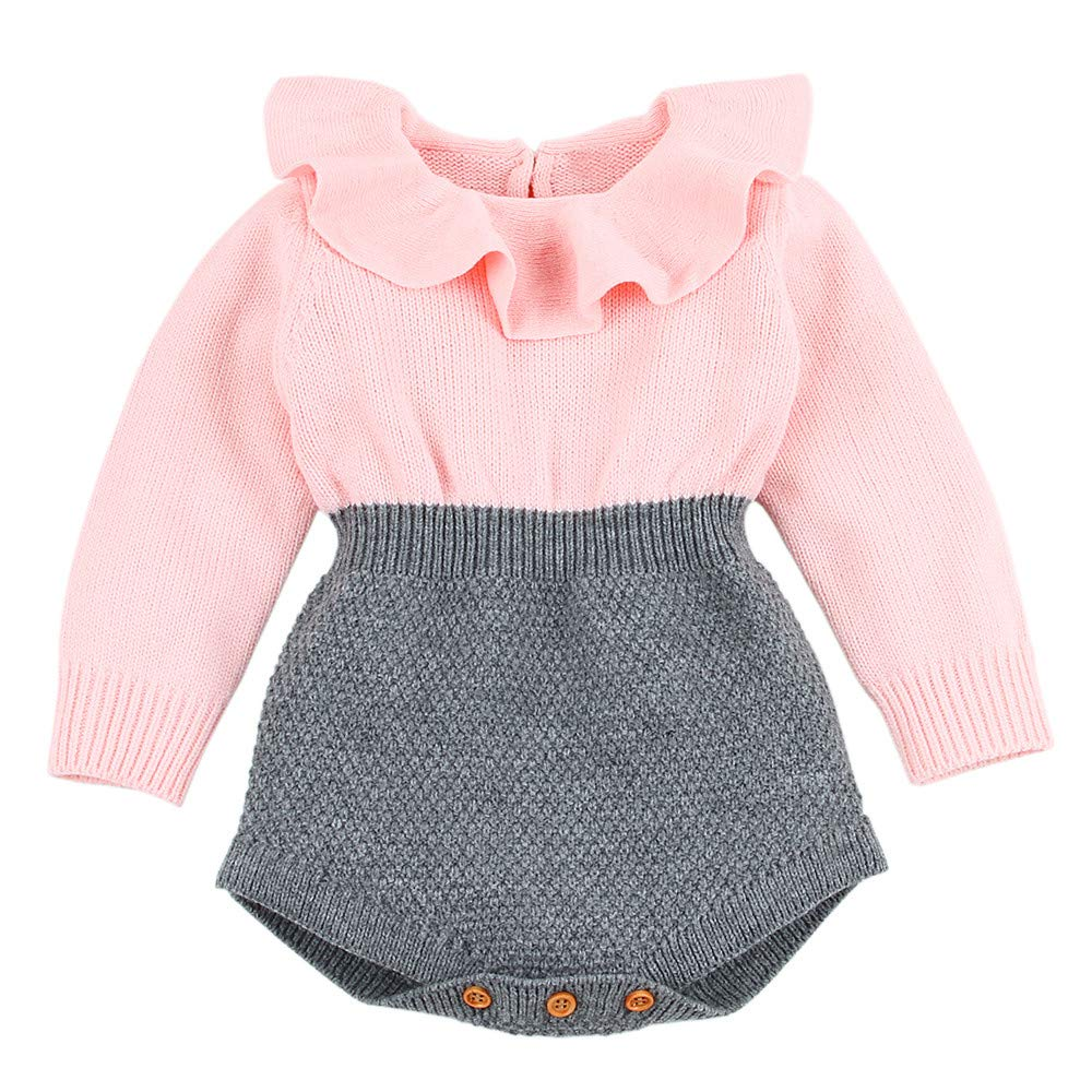 LIKESIDE Newborn Infant Baby Girl Knitted Sweater Winter Romper Jumpsuit Outfits