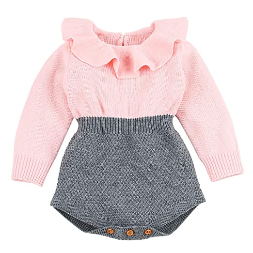 08234d977 Amazon.com  LIKESIDE Newborn Infant Baby Girl Knitted Sweater Winter ...