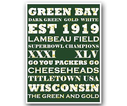 fb3b24d1 Amazon.com : Atlas Green Bay Packers Poster Subway Style Art ...