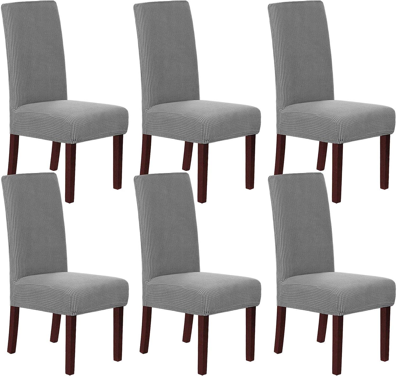 H.Versailtex Lot de 6 housses de chaise en jacquard haute