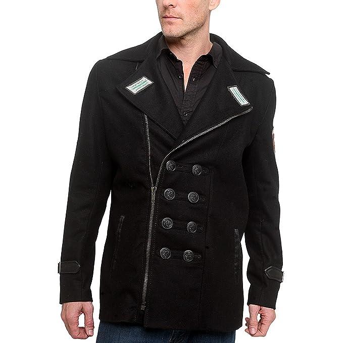 Designer Pea Coat Men   Men S Junker Designs Dresden Custom Wool Pea Coat Jacket Amazon