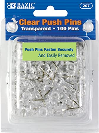 200 Clear Push Pins Transparent Drawing Pins Notice Board Cork Board Office S