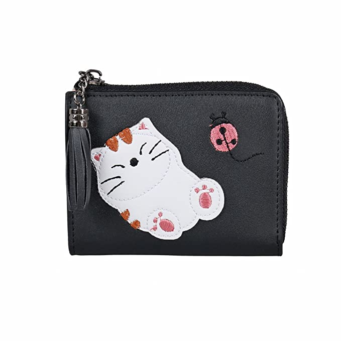 1b42dce1be5 Damara Womens Lazy Cat Applique Ladybug Embroidery Money Clip, Black ...