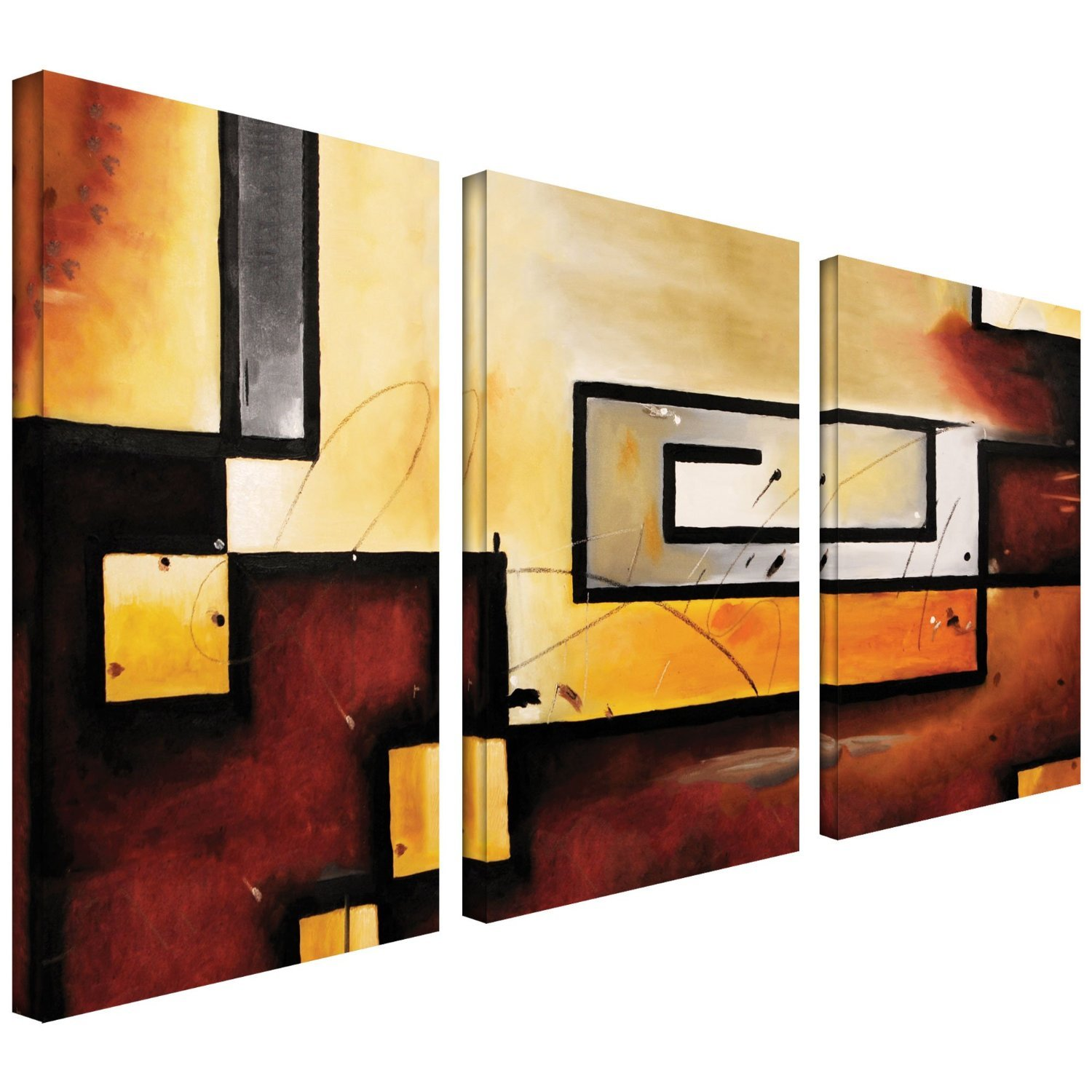 Amazon.com: Art Wall 3-Piece Abstract Modern Gallery Wrapped Canvas ...