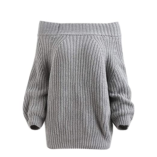 Women Sweaters Women\u0027s Off Shoulder Puff Sleeve Knitted Warm Sweater Loose  Fit Pullover Tops Gray