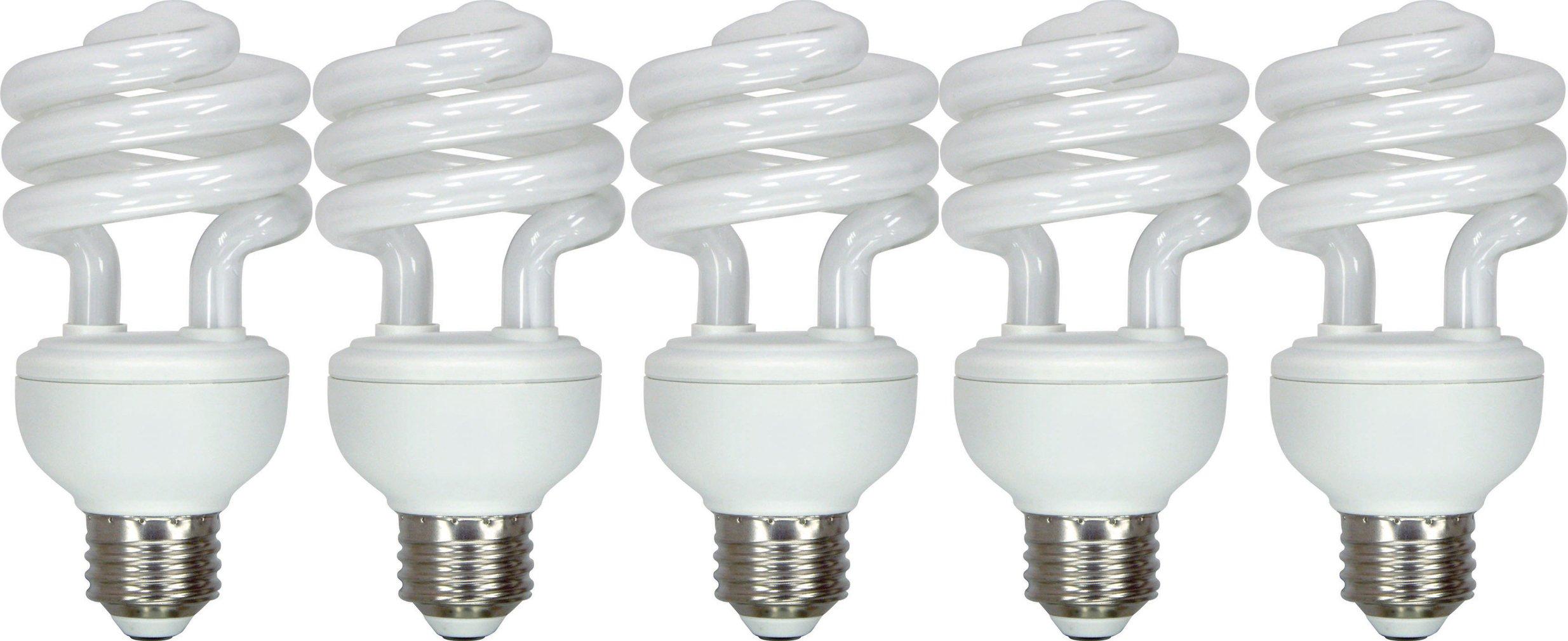 GE Lighting 97249 20-Watt 1250-Lumen General Purpose T3 Spiral CFL Bulb, Soft White, 5-Pack