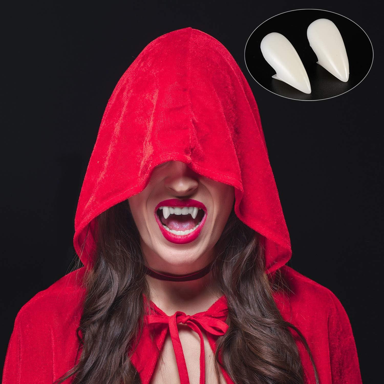 13 mm Gejoy 8 Paires Dents Crocs Dentiers de Vampire Accessoires de Cosplay d/'Halloween avec Adh/ésif /à Pastilles de Dents pour Faveurs de F/ête de Costume d/'Halloween