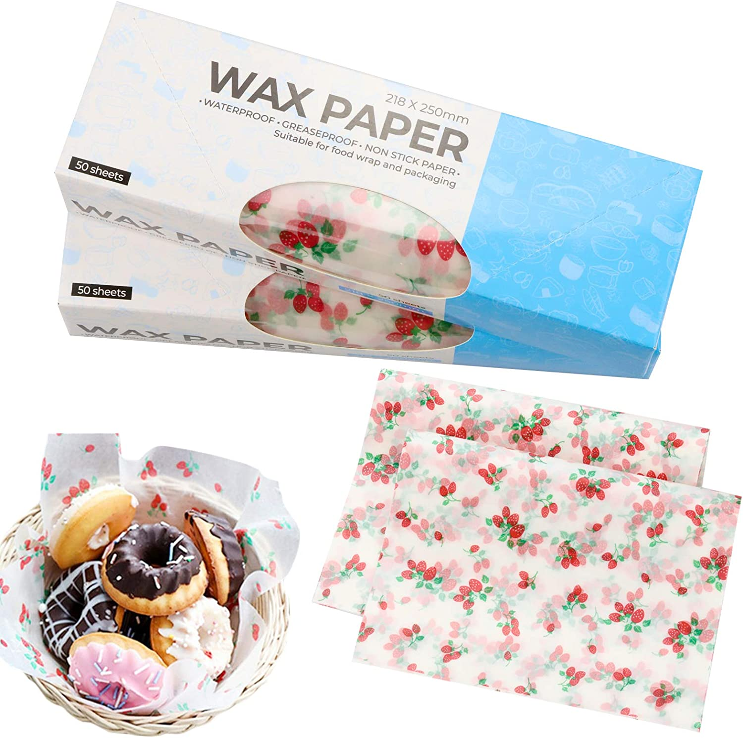 Zezzxu Wax Paper Food Picnic Paper, 100pcs Grease Proof Paper Waterproof Dry Hamburger Paper Liners Wrapping Tissue for Plastic Food Basket (Strawberry pattern)