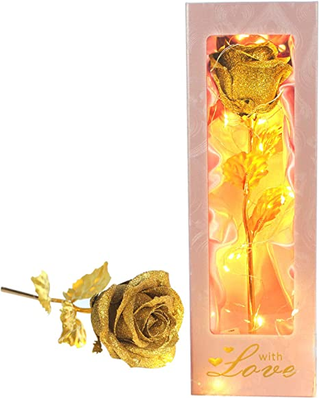 24K Gold Plated Foil Galaxy Roses Anniversary Girlfriend Wife Romantic Flowers