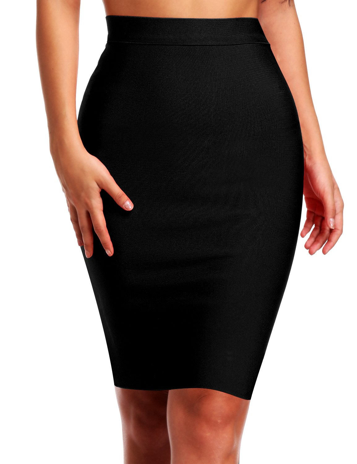 Hego Women's Solid Color Bodycon Bandage Knee-Length Skirt H4242 (M, Black) by Hego
