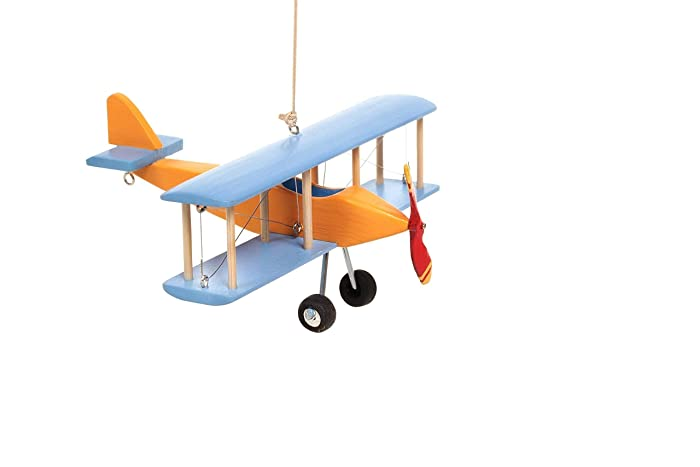 Hanging Airplane For Children Kid Room Nursery Fly Vintage Decor Yellow Blue Wooden 5in
