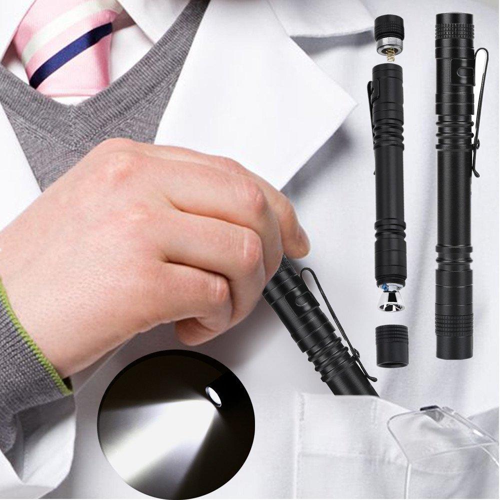 2 PCS LED Stylo Lumière Penlight 1200 Lumens, Haute Lumen Ultra Lumineux Mini Pocket Pen Torche Lampe de Lumière avec Clip pour Médecin Infirmière Étudiants Alimenté par 2 x AAA Batterie 3 Mode Tbest