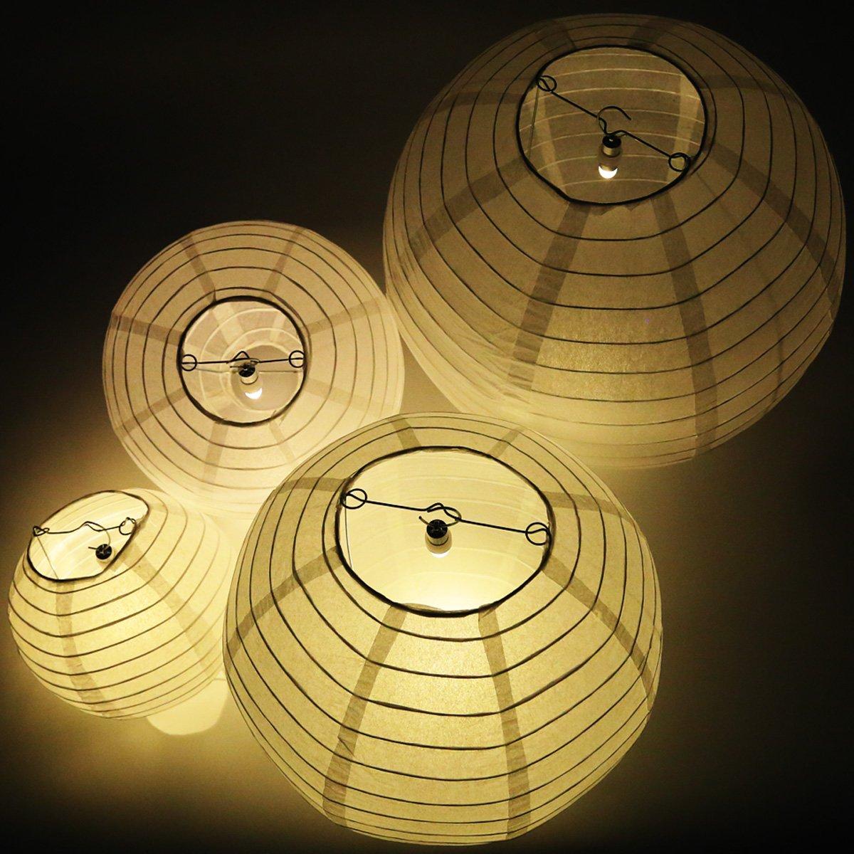 yiJiA Confezione Risparmio da 12 Lanterne di Carta a LED Bianche per Una Perfetta Decorazione Estiva e Matrimonio in 4 Diverse Misure