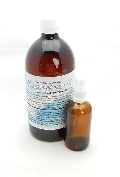 Magnesio de aceite/magnesiumöl 1liter + pulverizador – El original del Mar Muerto. Solo