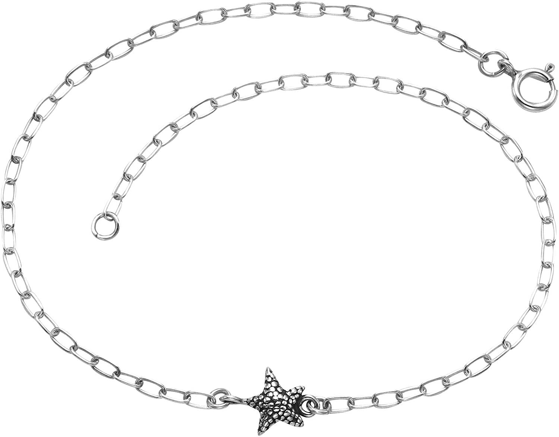 925 Sterling Silver Adjustable Starfish Anklet